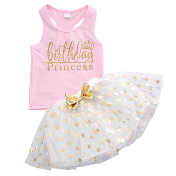Kid Girls Clothes Set Toddler Sleeveless Top Sleeveless T-shirt Party Polka Dot Bow Skirt Outfit Children Clothing Summer Girl