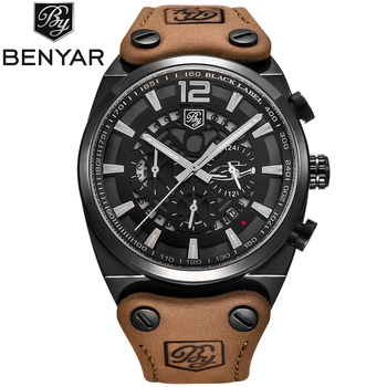BENYAR Mens Military Watch Waterproof Chronograph Sport Outdoor Aviator Quartz Watches Real Leather Band Army Male Clock
