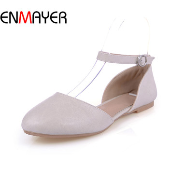 ENMAYER Women Shoe Plat Relax Casual Buckle Strap34-43 Varity Color Lady Shoe Shallow Fashion Sweet Spring Solid Round Toe