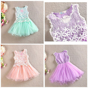 2016 Baby Girls Princess Sleeveless Hollow Lace Flower Tulle Gown Wedding Party Dress Sundress 2-8Y
