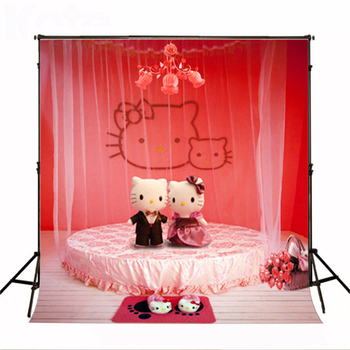 Photocall for Wedding Hello Kitty Teddy Bear Photographic background Flower Wood Floor Wedding Backdrops for Photographic Studio
