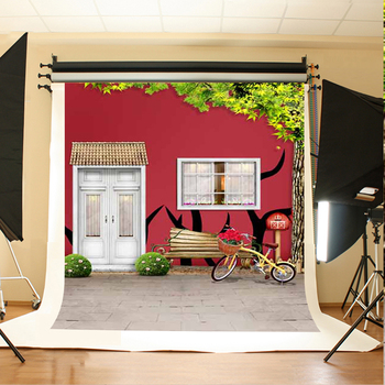 Wedding Photography Background Flowers Tree Bikes Photo Booth Backdrops Red Graffiti Wall Background for Photographic Studio