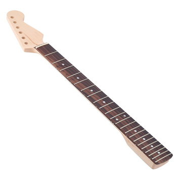 Homeland Maple Guitar Neck Black Dot Dark Yellow With Rosewood Fingerboard For ST Electric Guitar Replacement Parts 22 Frets