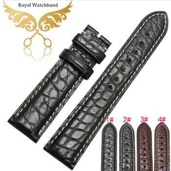 Promotion Handmade Genuine Alligator Leather Watch Strap Band Black Brown 18mm 19mm 20mm 21mm 22mm