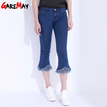 Bell Bottom Black Jeans Female High Waist Skinny White Jeans Flare Stretch Denim Pants Classic Pantalones Mujer GAREMAY 3125