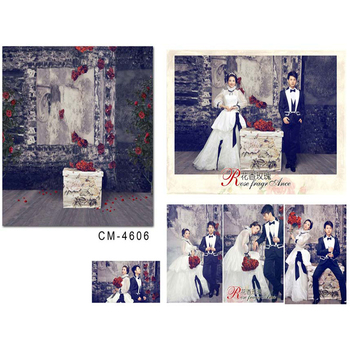 Photocall for Wedding Red Flowers Green Leaves Photo Booth Backdrops Stone Brick Wall White Box Backgrounds for Photo Studio
