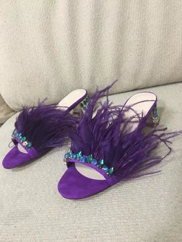 Real picture 2017 summer purple women slippers crystal square heels med heels slippers women feather outside slides women