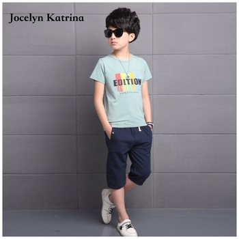 Jocelyn Katrina Summer boys clothes sets cotton kids clothes 2pc short sleeve t-shirt+pants,boys clothing suits for 5-16 years