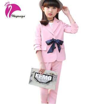 New Baby Girls Formal Suits 2017 Fashion Cotton Coat+Pant 2 Pieces Clothing Children's Solid Turn-down Collar Kid Clothes Set