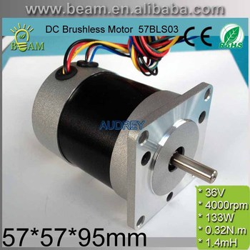 Square Head and Circle Fuselage 36V 92W 0.32 N.m 4000rpm 57mm 3 phase DC Brushless Motor 57BLS03 BLDC MOTOR